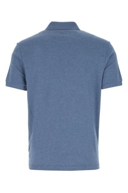 Melange denim blue cotton polo shirt