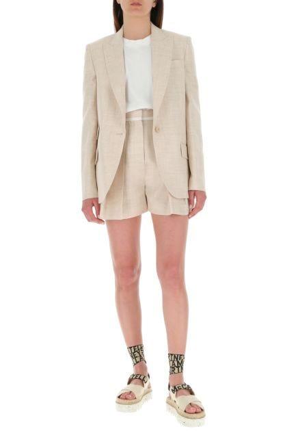 Melange sand viscose blend shorts