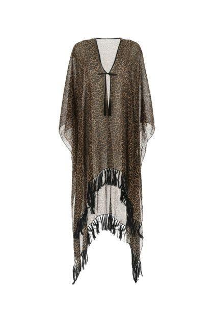 Printed wool cape