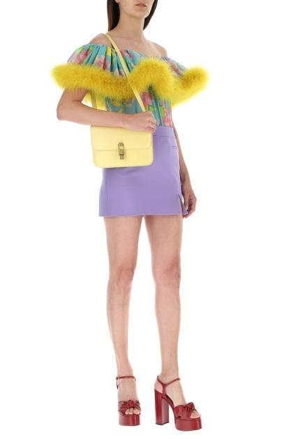Pastel yellow leather Le Carre shoulder bag
