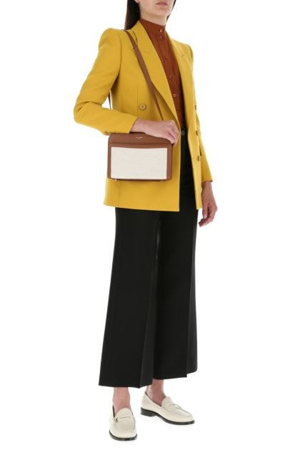 Two-tone canvas and leather Satchel Reversed shoulder bag