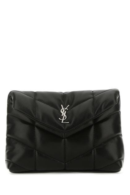 Black nappa leather small Lou Puffer pouch