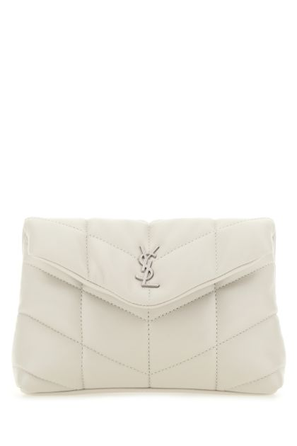 Chalk nappa leather small Lou Puffer pouch