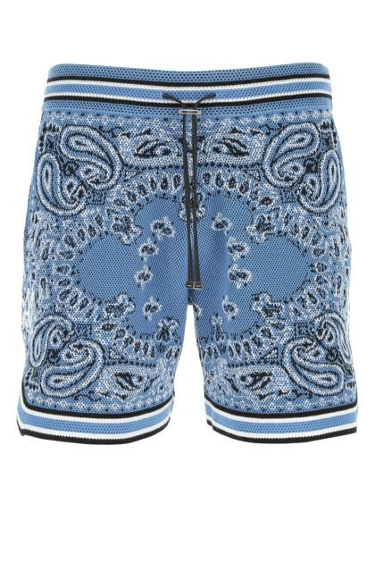 Embroidered cotton blend bermuda shorts