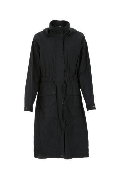 Black nylon raincoat
