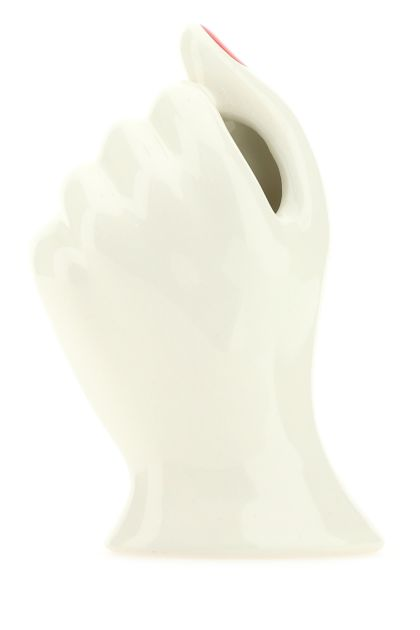 Ivory ceramic Hand vase