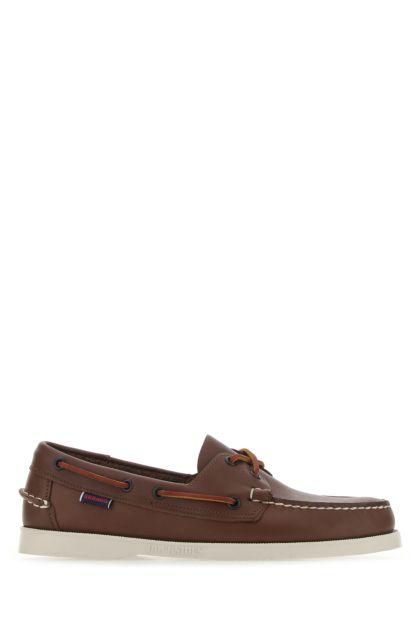Brown leather Docksides Portland loafers