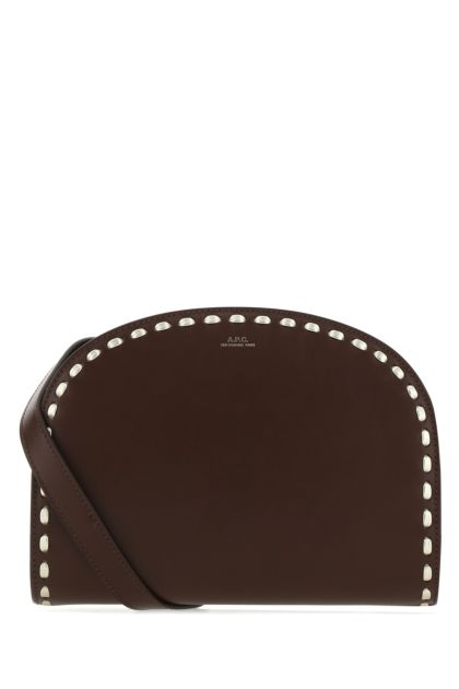 Chocolate leather Demi Lune shoulder bag