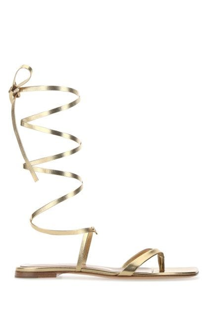 Gold nappa leather Gladiator thong sandals