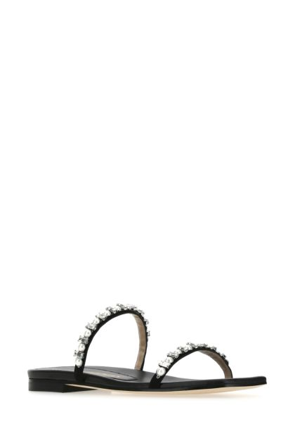 Black leather Aleena slippers