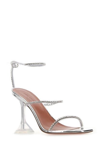 Embellished leather and PVC sandals