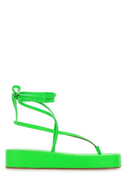Fluo green nappa leather Jamie thong sandals