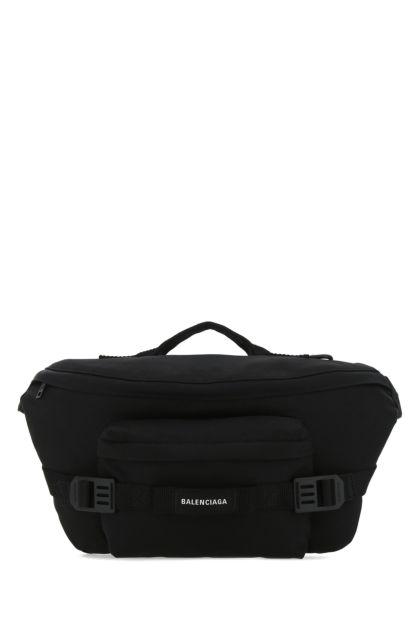 Black nylon blend large belt bag