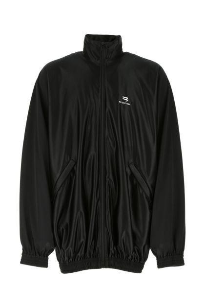 Black polyester oversize sweatshirt