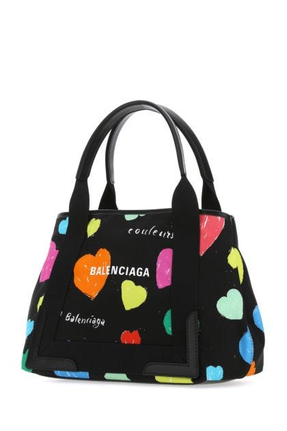 Printed nylon Cabas Archive Hearts Navy small shopping bag