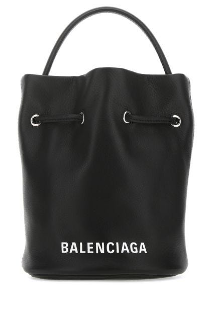 Black leather small Everyday bucket bag