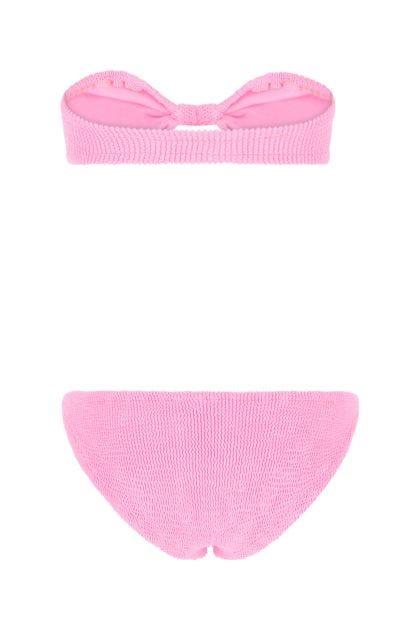Fluo pink stretch nylon bikini
