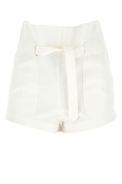 White cotton blend shorts
