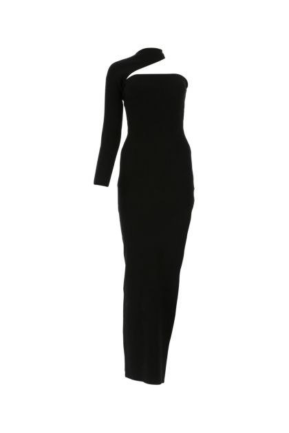 Black viscose blend long dress
