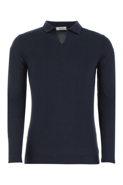Navy blue cotton and modal polo shirt