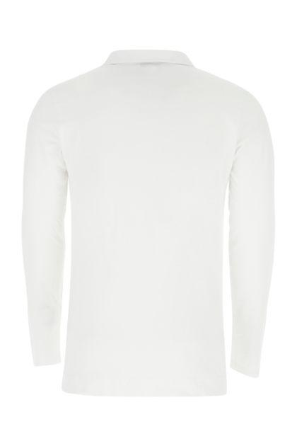White cotton and modal polo shirt