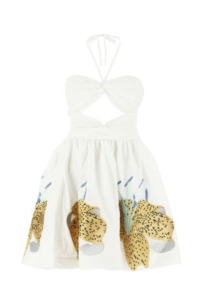 White cotton Lilies mini dress