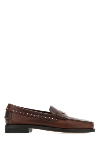 Brown leather Dan Waxy loafers