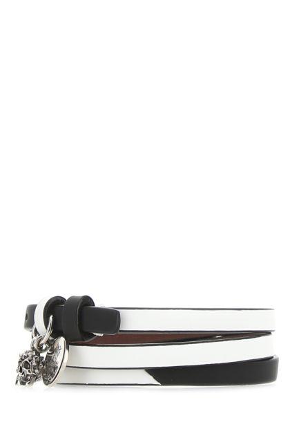 Two-tone leather bracelet