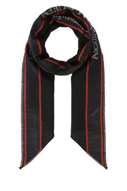 Black wool blend foulard