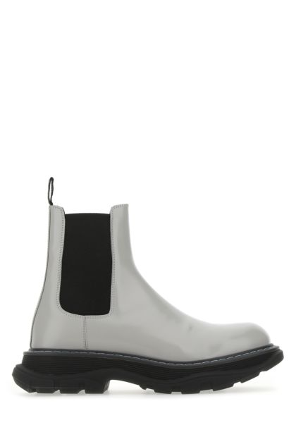 Light grey leather ankle boots