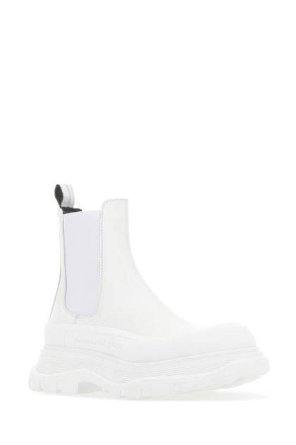 White leather Tread Slick ankle boots