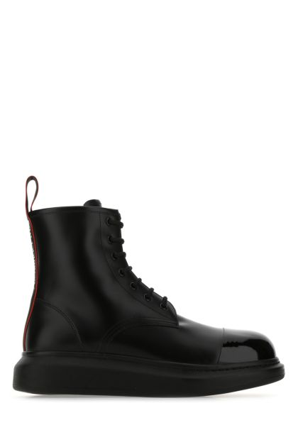 Black leather Hybrid ankle boots