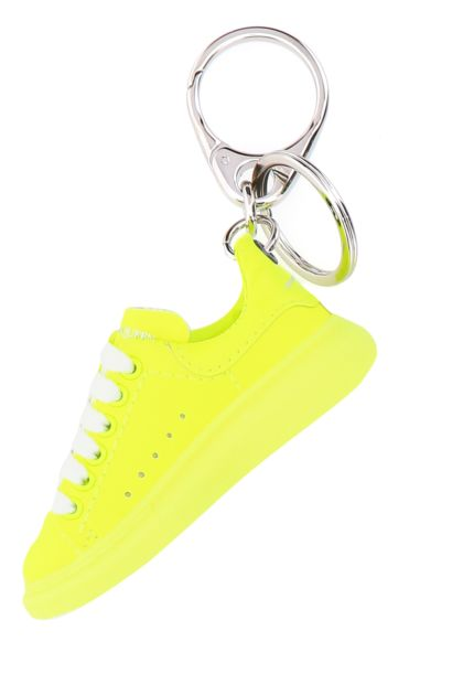 Fluo yellow leather key ring