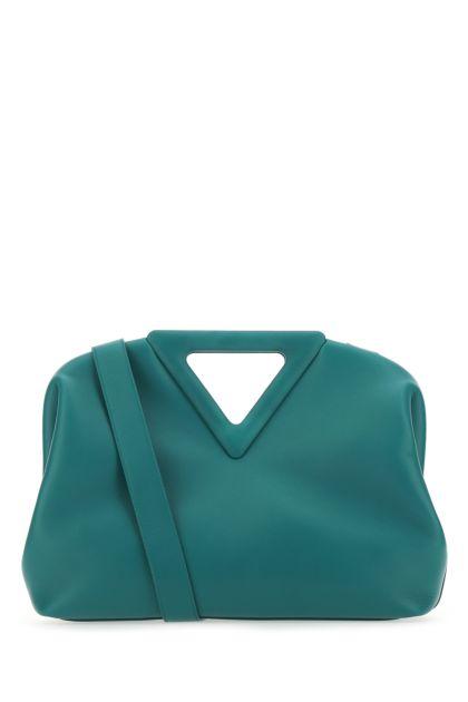 Petrol blue leather medium Point handbag