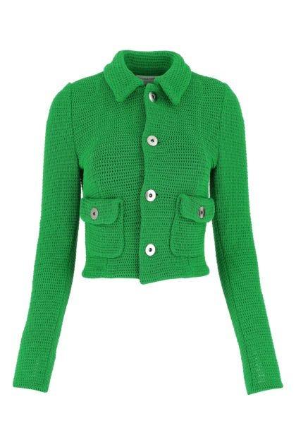 Grass green stretch cotton blend blazer