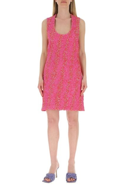 Embroidered stretch boucle dress