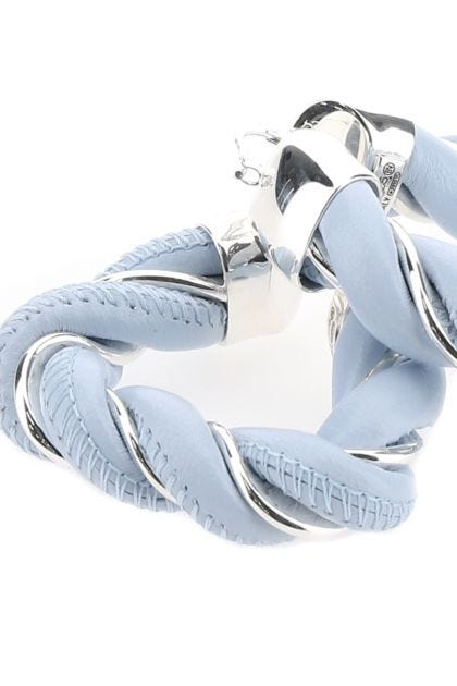 Light-blue and 925 silver nappa leather earrings
