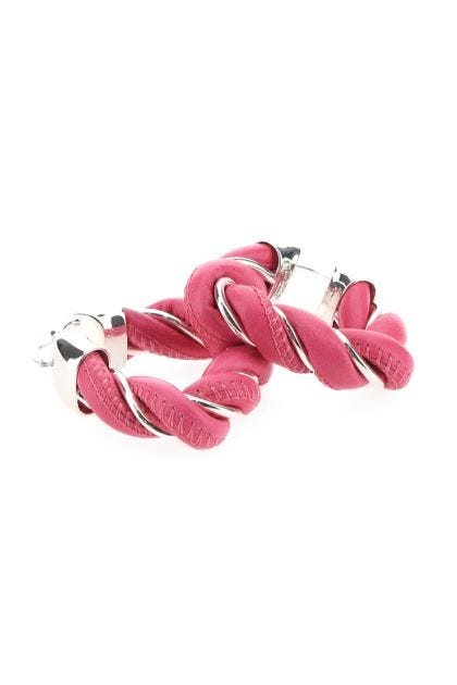 Dark pink nappa leather and 925 silver Twist earrings