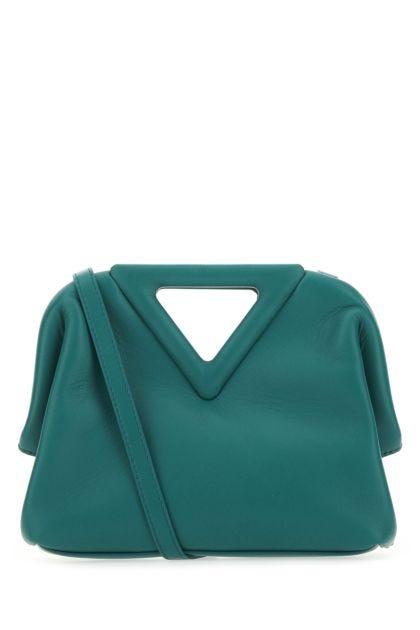 Petrol blue leather Point handbag