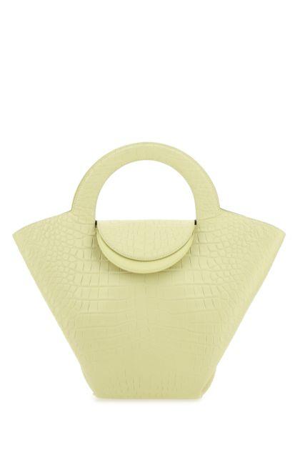 Pastel yellow leather large Tote Doll handbag