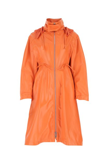 Orange leather parka