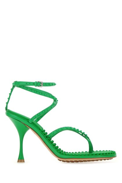 Grass green nappa leather Lagoon Bubble sandals