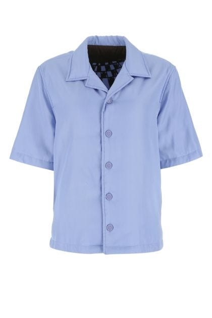 Light blue viscose blend padded shirt