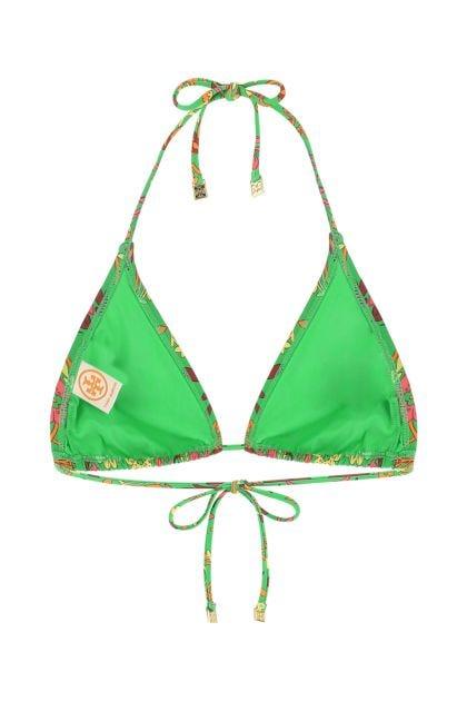 Printed stretch nylon bikini top