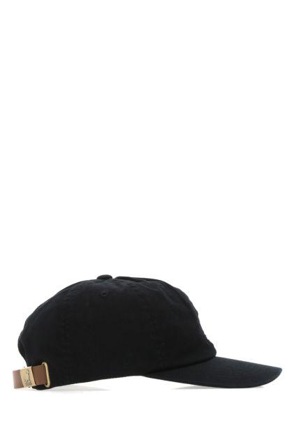 Black gabardine Washed baseball cap