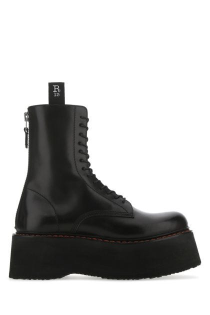Black leather X-Stack boots
