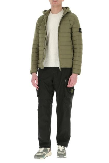 Army green stretch nylon down jacket