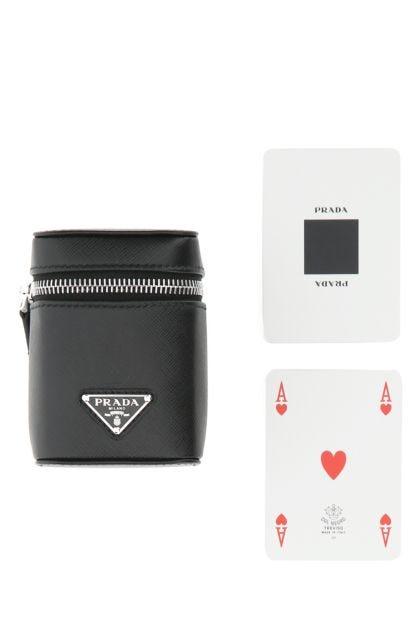 Black leather playing card kit