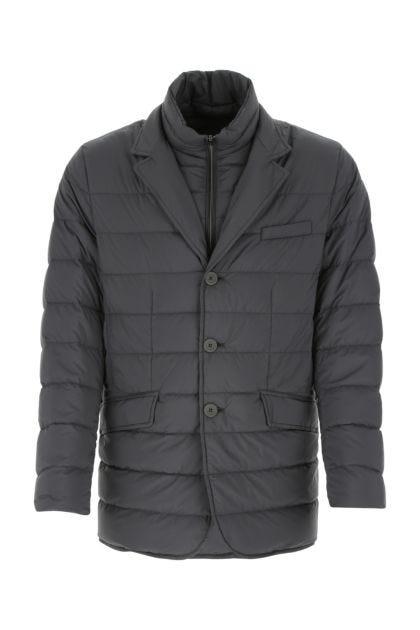 Dark grey nylon down jacket