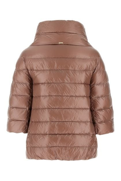 Antiqued pink nylon down jacket